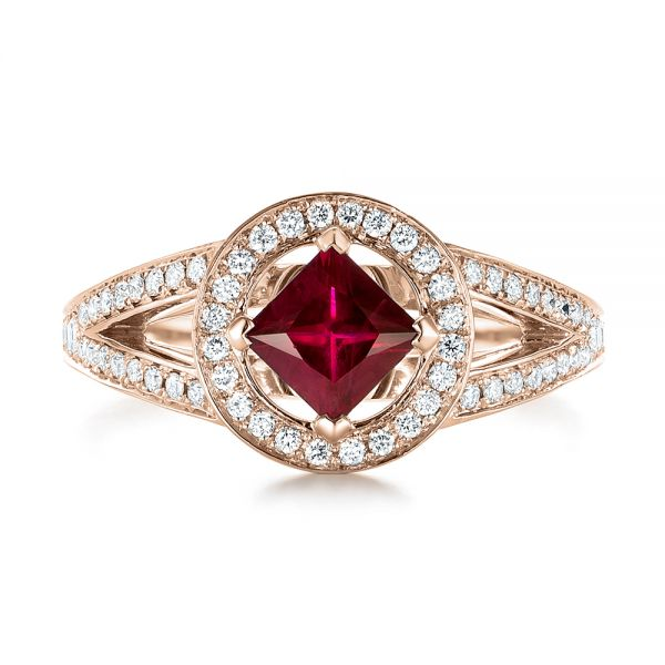18k Rose Gold 18k Rose Gold Custom Ruby And Diamond Halo Engagement Ring - Top View -