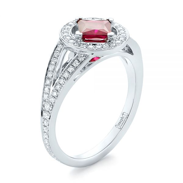 Custom Ruby and Diamond Halo Engagement Ring - Image