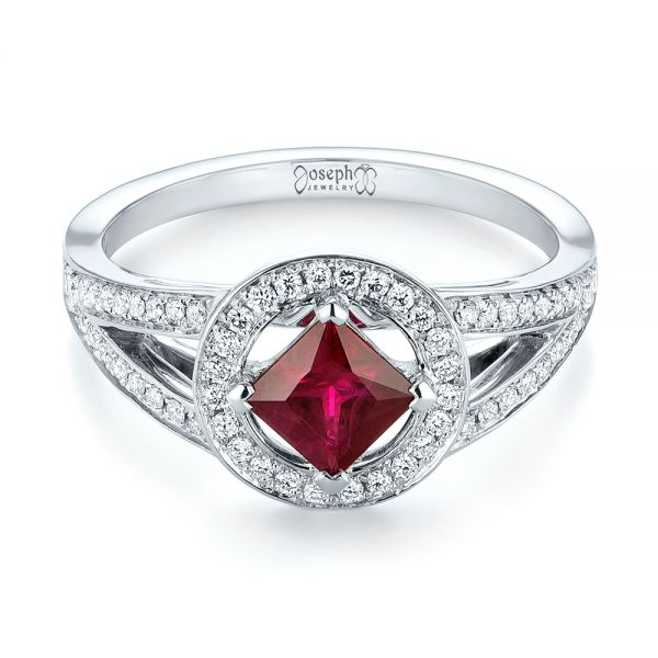 Platinum Platinum Custom Ruby And Diamond Halo Engagement Ring - Flat View -