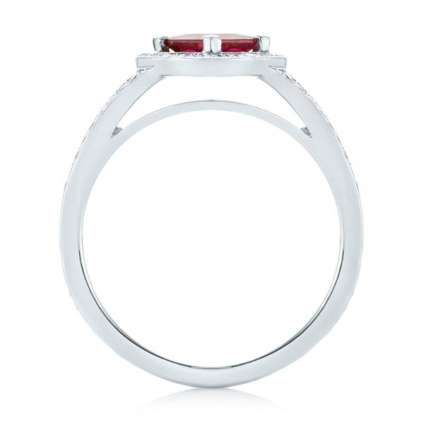 Platinum Platinum Custom Ruby And Diamond Halo Engagement Ring - Front View -