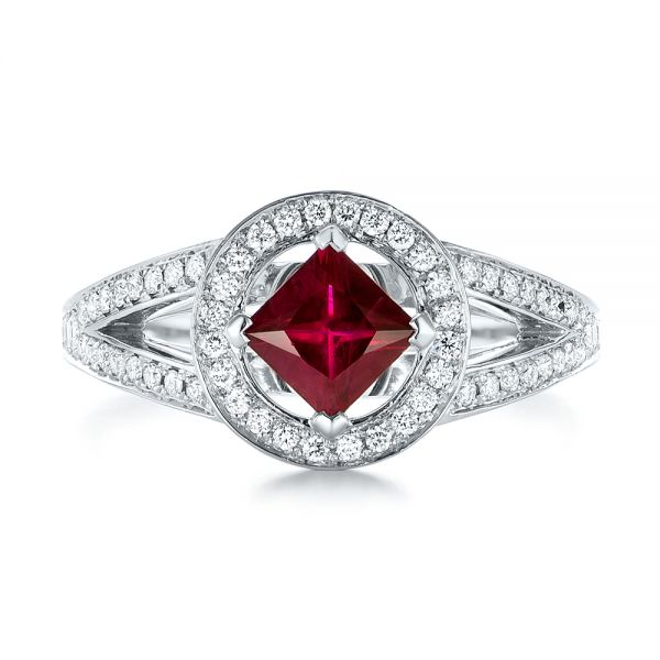 Platinum Platinum Custom Ruby And Diamond Halo Engagement Ring - Top View -
