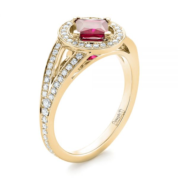 14k Yellow Gold 14k Yellow Gold Custom Ruby And Diamond Halo Engagement Ring - Three-Quarter View -