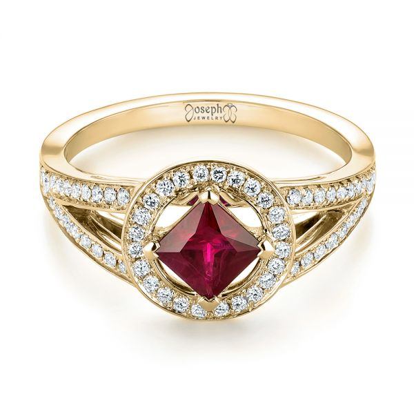 14k Yellow Gold 14k Yellow Gold Custom Ruby And Diamond Halo Engagement Ring - Flat View -