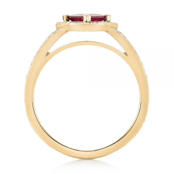 14k Yellow Gold 14k Yellow Gold Custom Ruby And Diamond Halo Engagement Ring - Front View -