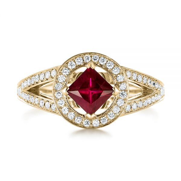 14k Yellow Gold 14k Yellow Gold Custom Ruby And Diamond Halo Engagement Ring - Top View -