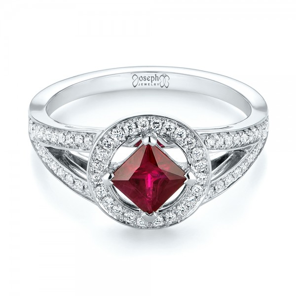 Custom Ruby and Diamond Halo Engagement Ring - Laying View