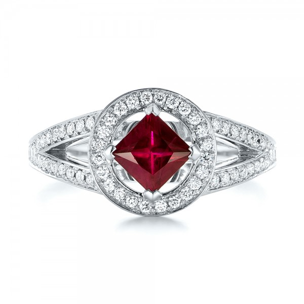 Custom Ruby and Diamond Halo Engagement Ring - Top View