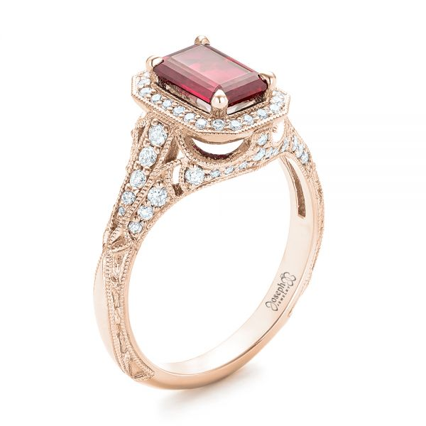 14k Rose Gold Custom Ruby And Diamond Halo Vintage