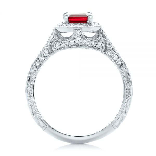 Platinum Custom Ruby And Diamond Halo Vintage Engagement Ring - Front View -