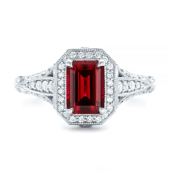Platinum Custom Ruby And Diamond Halo Vintage Engagement Ring - Top View -