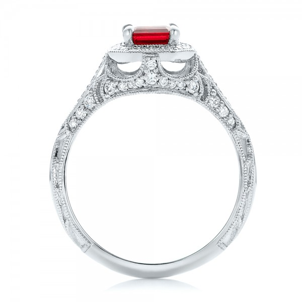 Custom Ruby and Diamond Halo Vintage Engagement Ring - Finger Through View