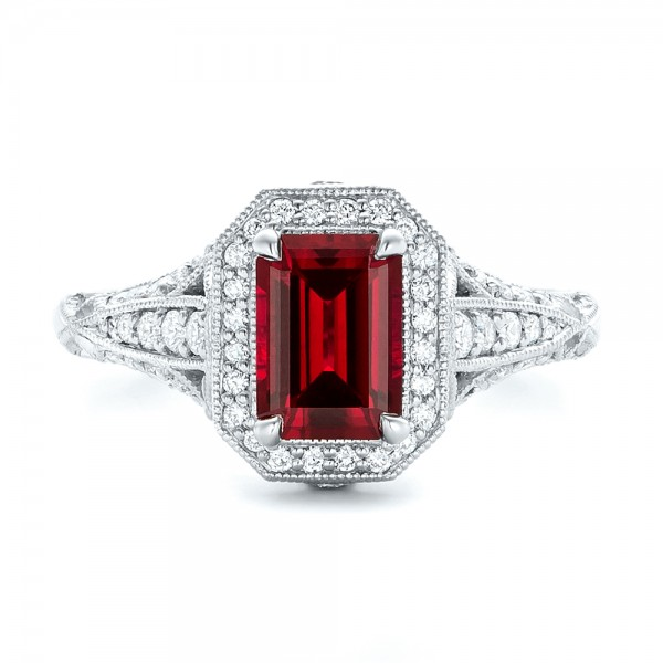 custom ruby and halo vintage engagement ring 102729