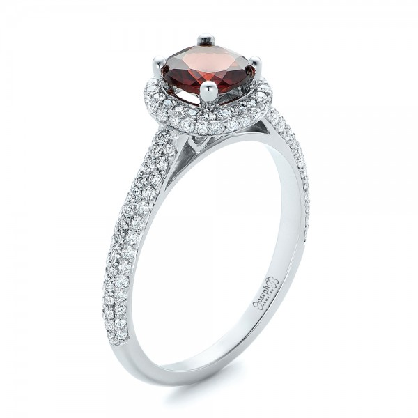 Custom Garnet and Pave Diamond Halo Engagement Ring