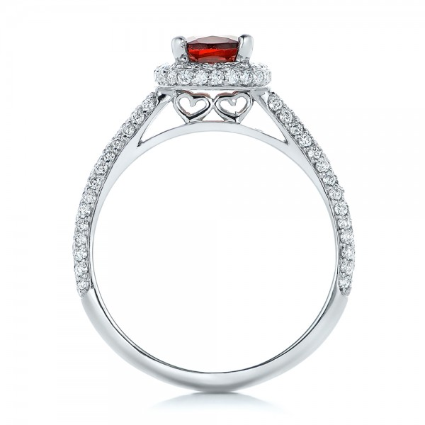 Custom Garnet and Pave Diamond Halo Engagement Ring - Finger Through View