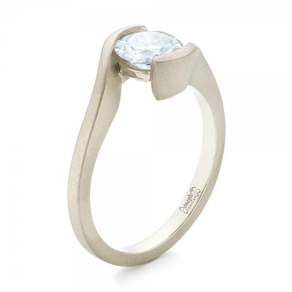 Custom Sandblasted Diamond Solitaire Engagement Ring