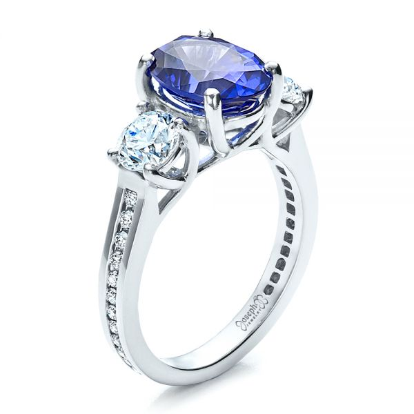 Custom Sapphire and Diamond Engagement Ring - Three-Quarter View -  1471 - Thumbnail