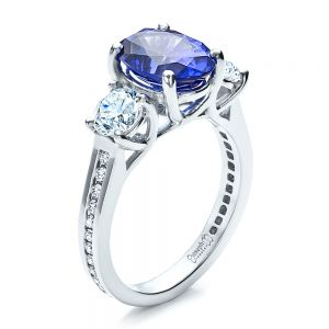 Custom Sapphire and Diamond Engagement Ring - Image