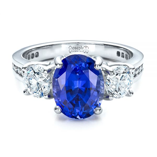 Custom Sapphire and Diamond Engagement Ring - Flat View -  1471 - Thumbnail