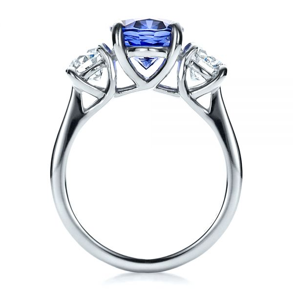 Custom Sapphire and Diamond Engagement Ring - Front View -  1471 - Thumbnail