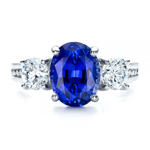 Custom Sapphire and Diamond Engagement Ring - Top View -  1471 - Thumbnail
