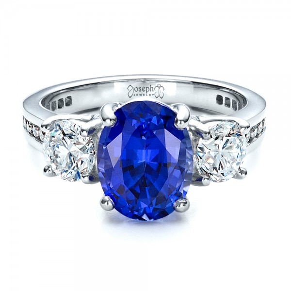 Custom Sapphire and Diamond Engagement Ring