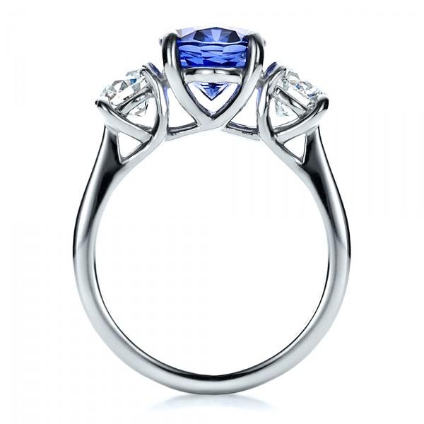 Custom Sapphire and Diamond Engagement Ring - Finger Through View