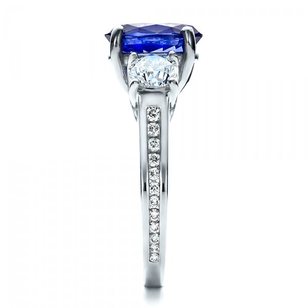 Custom Sapphire and Diamond Engagement Ring - Side View