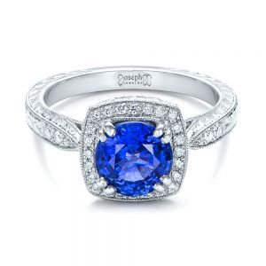 Custom Sapphire and Diamond Halo Engagement Ring