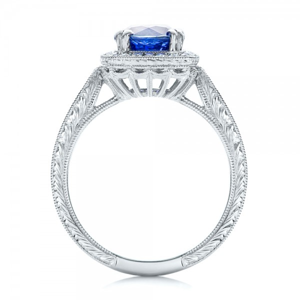 Custom Sapphire and Diamond Halo Engagement Ring - Finger Through View