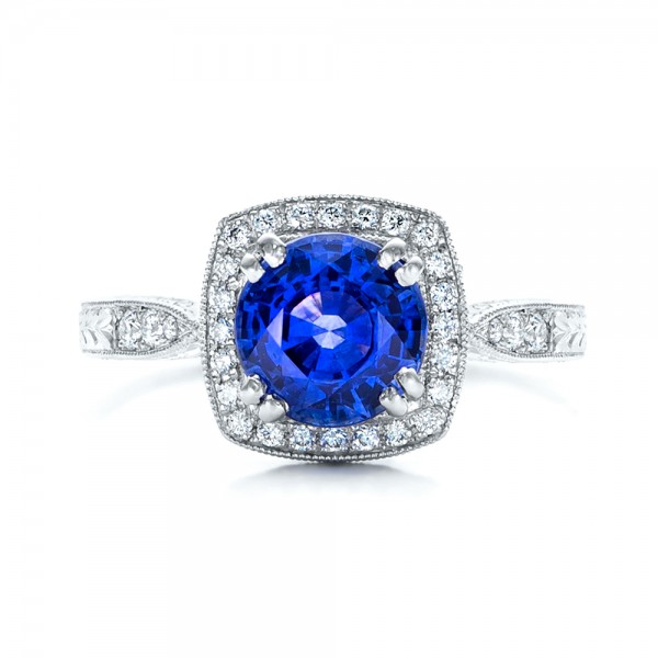Custom Sapphire and Diamond Halo Engagement Ring - Top View