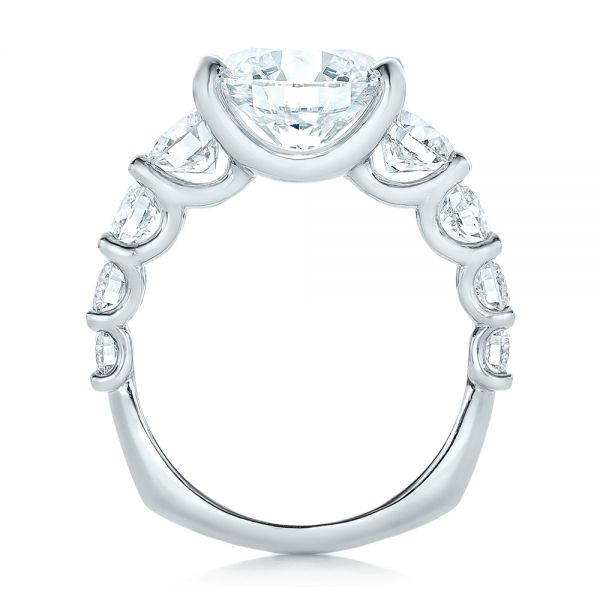Platinum Custom Shared Prong Diamond Engagement Ring - Front View -