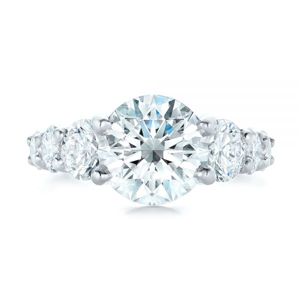 Platinum Custom Shared Prong Diamond Engagement Ring - Top View -