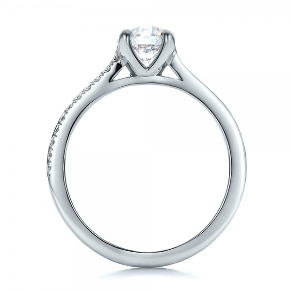 Custom Shared Prong Diamond Engagement Ring - Front View -  100280 - Thumbnail