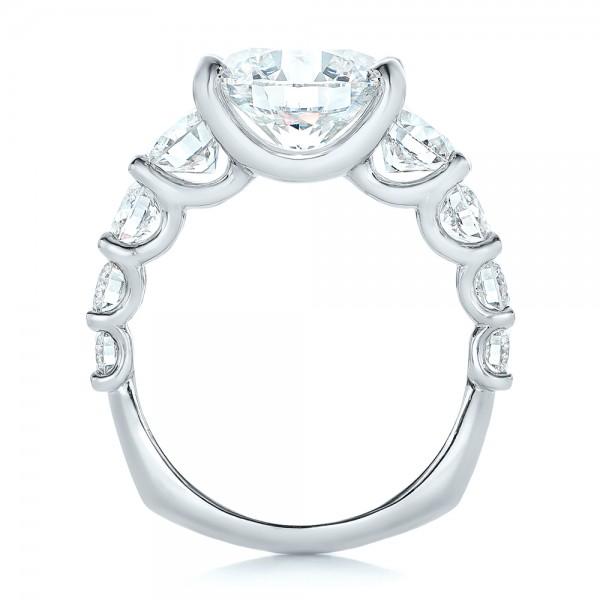 Custom Shared Prong Diamond Engagement Ring - Finger Through View