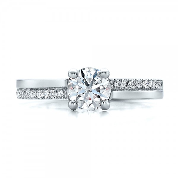 Custom Shared Prong Diamond Engagement Ring - Top View -  100280 - Thumbnail