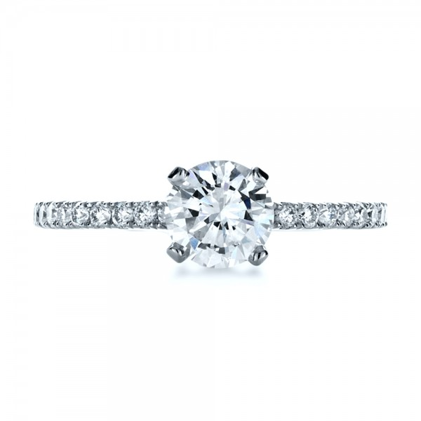 Custom Shared Prong Diamond Engagement Ring - Top View