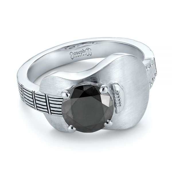 Platinum Custom Solitaire Black Diamond Engagement Ring - Flat View -