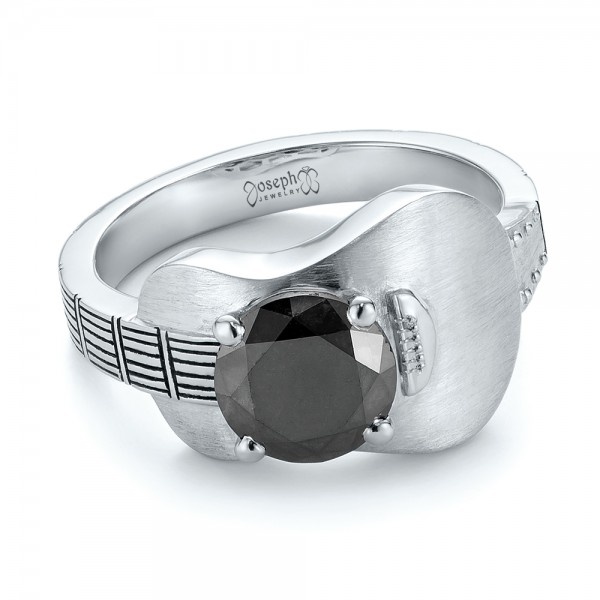 Custom Solitaire Black Diamond Engagement Ring - Laying View