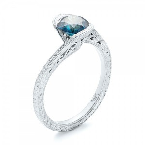 Custom Solitaire Blue Diamond Engagement Ring