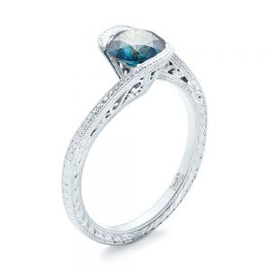 Custom Solitaire Blue Diamond Engagement Ring - Image