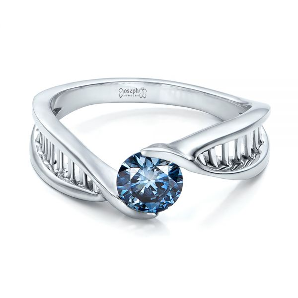 18k White Gold Custom Solitaire Blue Diamond Engagement Ring - Flat View -