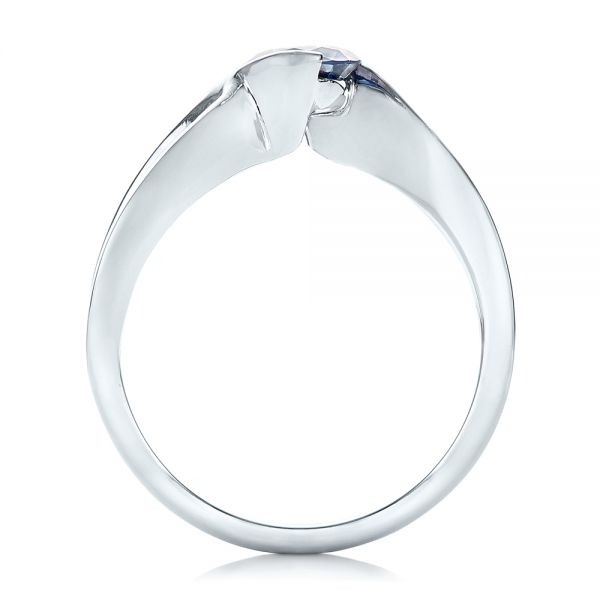 18k White Gold Custom Solitaire Blue Diamond Engagement Ring - Front View -