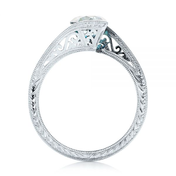 14k White Gold Custom Solitaire Blue Diamond Engagement Ring - Front View -  102752