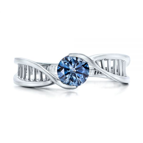 18k White Gold Custom Solitaire Blue Diamond Engagement Ring - Top View -