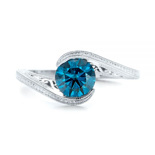 14k White Gold Custom Solitaire Blue Diamond Engagement Ring - Top View -  102752