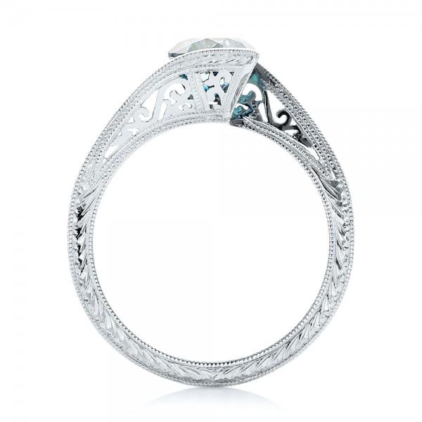 Custom Solitaire Blue Diamond Engagement Ring - Finger Through View