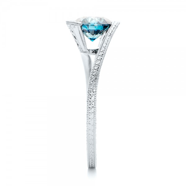 Custom Solitaire Blue Diamond Engagement Ring - Side View