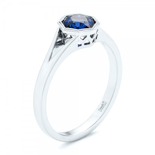 Custom Solitaire Blue Sapphire Engagement Ring
