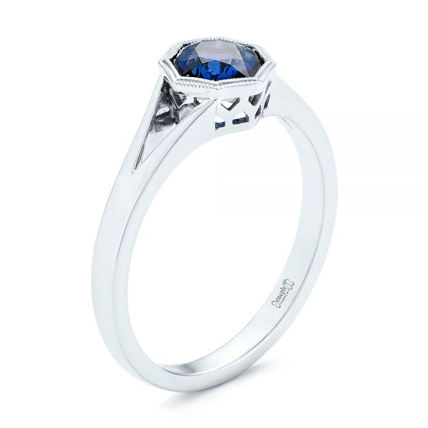 Custom Solitaire Blue Sapphire Engagement Ring - Image