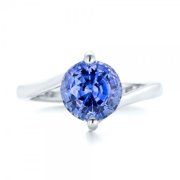 Custom Solitaire Blue Sapphire Engagement Ring - Top View -  102973 - Thumbnail